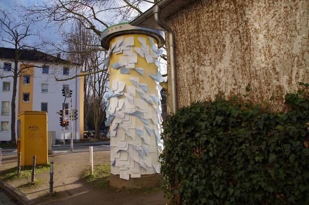 Litfaßsäule in der InselstraßeFoto: Anna Zdiara
