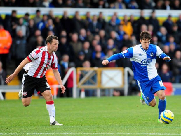 """Blau-weiß sind seine Farben: Fabian Broghammer (rechts), aktuell bei den Bristol Rovers aktiv, kickte auch mal kurz für die """"Lilien""""Foto: Bristol Rovers"""